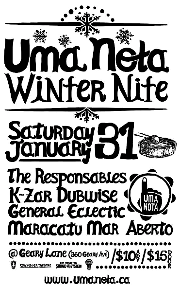 Uma Nota Winter Nite @ Geary Lane, Saturday