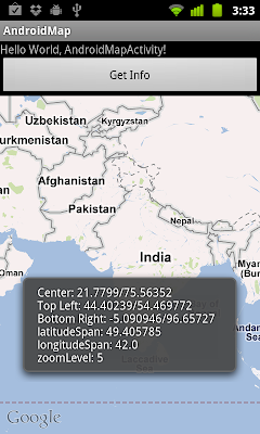 Get the the coordinates (Latitude and Longitude) currently displayed on MapView