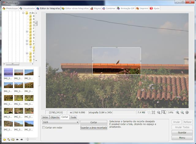 Corte controlado 16x9 com PhotoScape