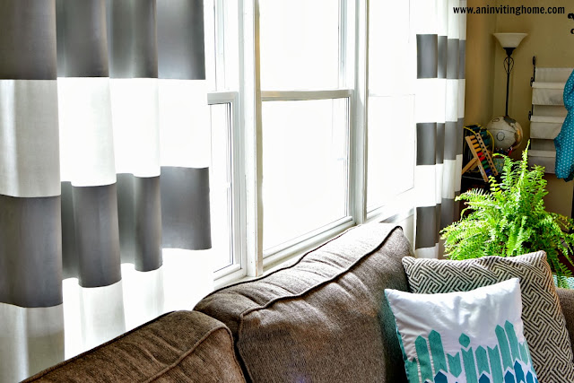 homemade striped curtains