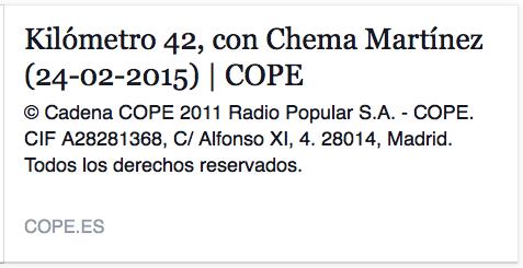 COPE - Entrevista de Chema Martínez a Juan Pache