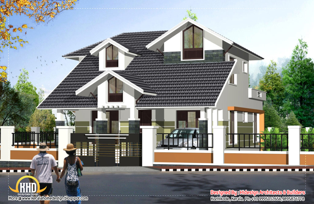 Contemporary sloping roof 2 story house 2125 sq ft for Sloped roof house plans in india