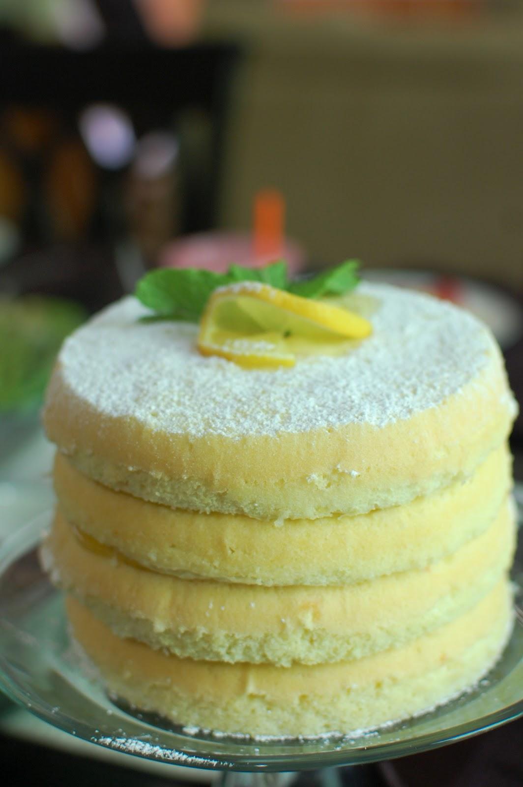 Cook Au Vin: Lemon Scented Olive Oil Cake with Lemon Curd Filling