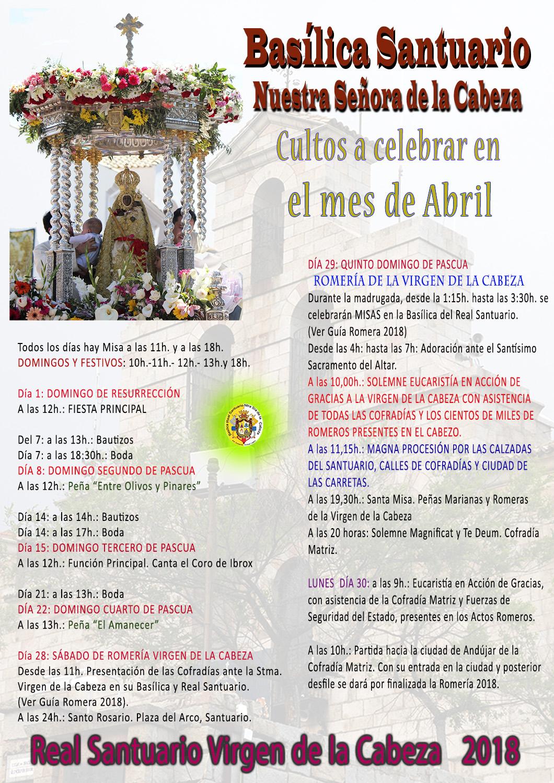 CULTOS ABRIL 2018 EN EL SANTUARIO.