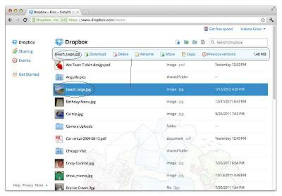 Οριζόντιο Dropbox file menu