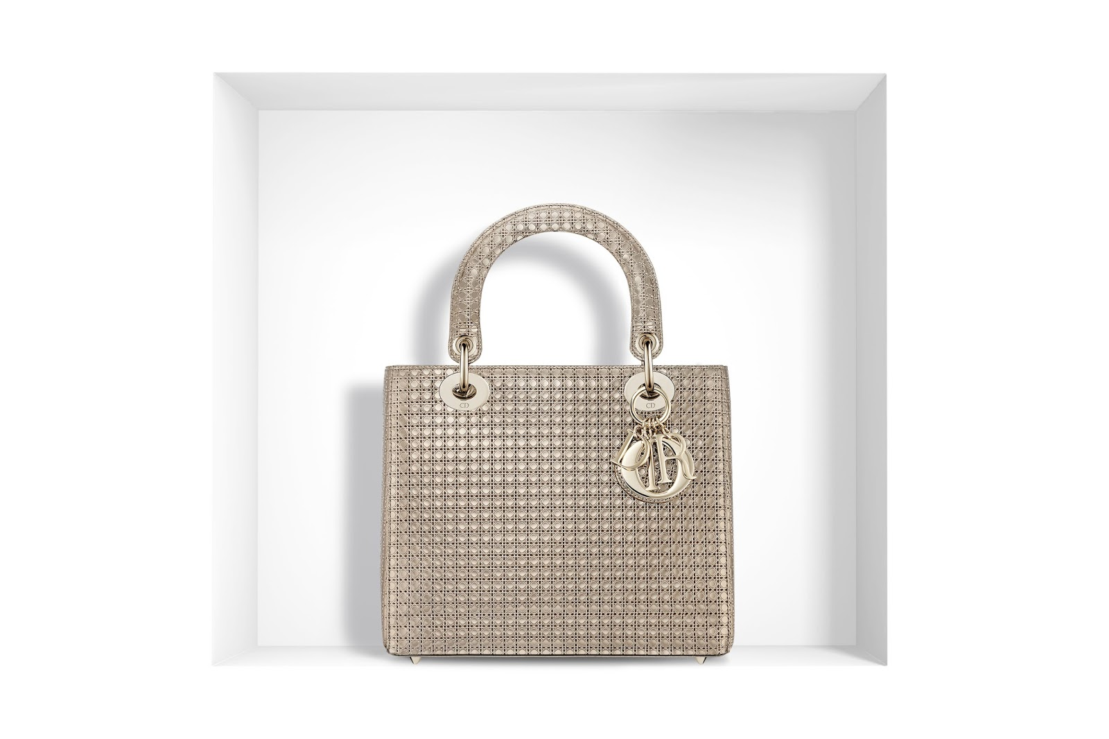 26af95e351c LADY DIOR BAG CHAMPAGNE METALLIC CALFSKIN WITH MICRO-CANNAGE MOTIF