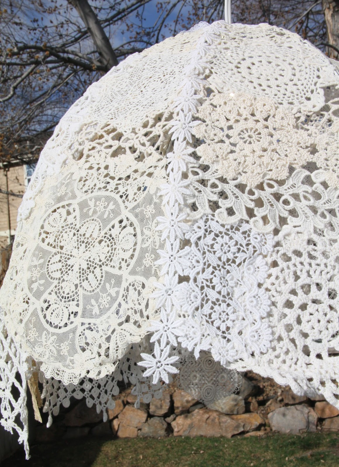 Isa creative musings vintage lace doilies light fixture vintage lace doilies light fixture arubaitofo Image collections