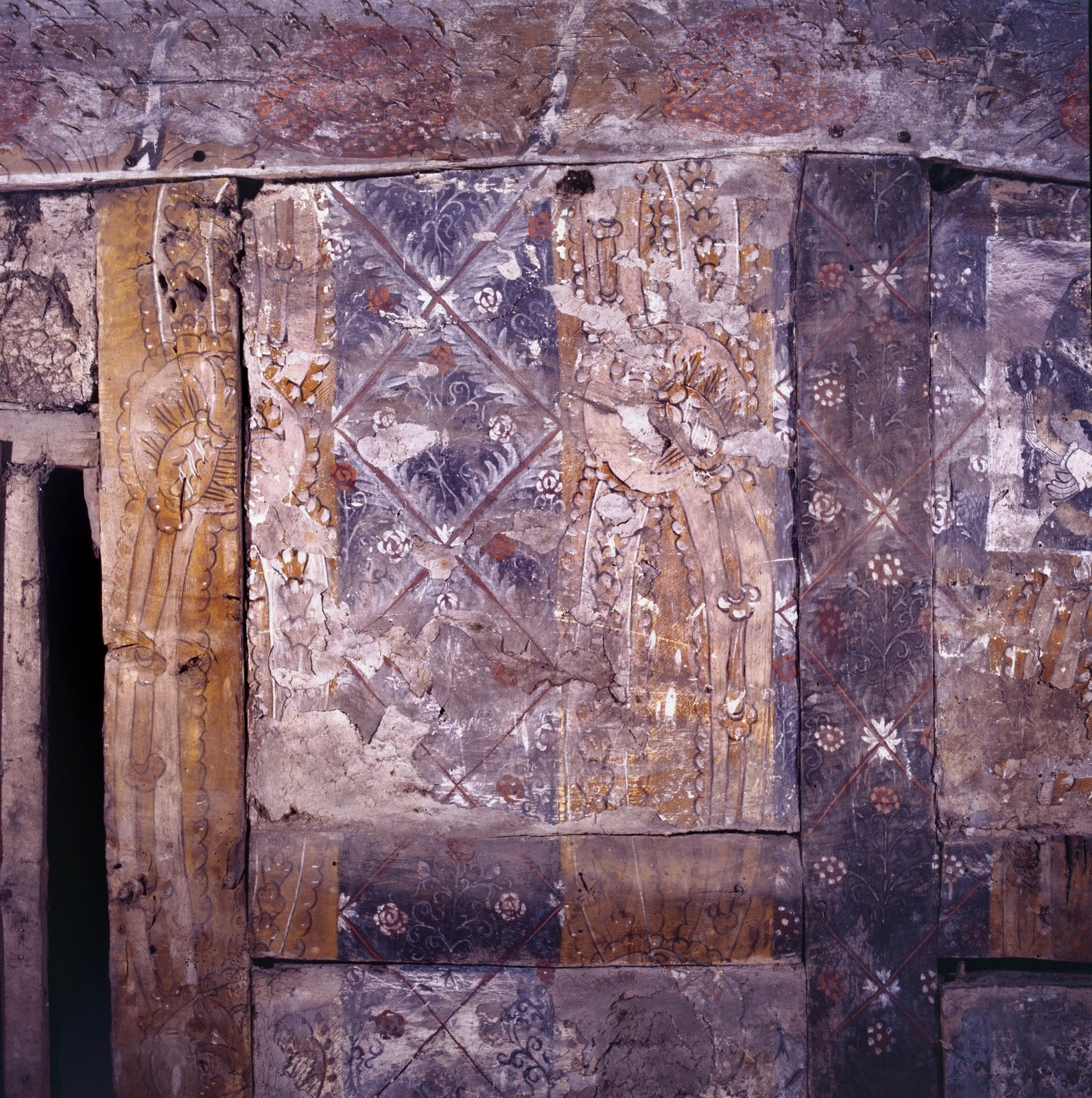 Detail of the original wall painting at Althrey Hall