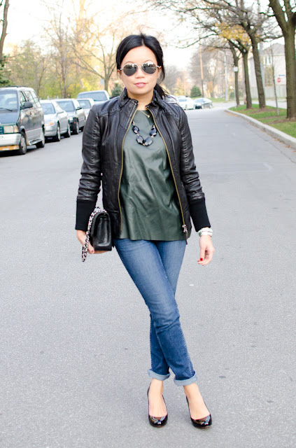 leather sweater, leather top, leather jacket, leather trend, Mackage leather jacket, Zara, Chanel classic flap, Louboutin Ron Ron