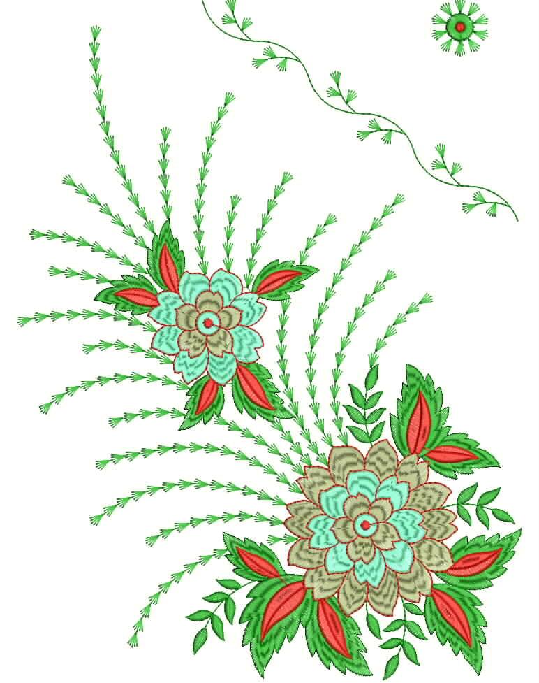 Latest desigen of wilcom mirror embroidery