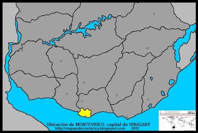 Mapa de la ubicacion de MONTEVIDEO, capital de URUGUAY
