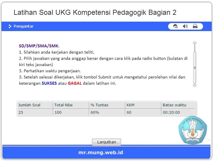 Latihan Soal Ukg Online Kompetensi Pedagogik Sd Smp Sma Smk Mr Mung Dot Com