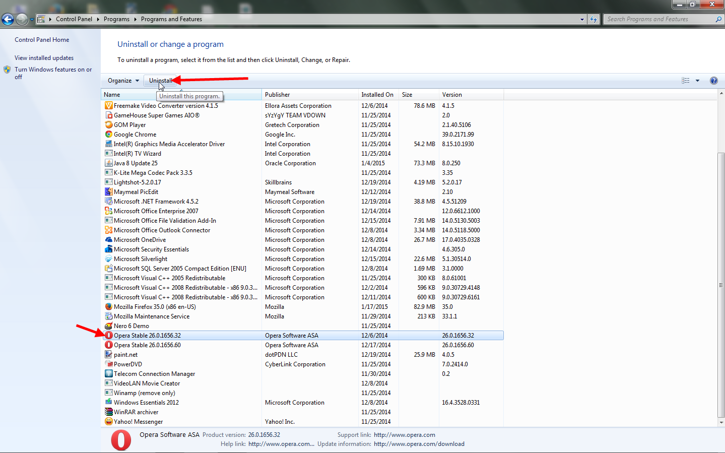 cara menghapus program di windows 7