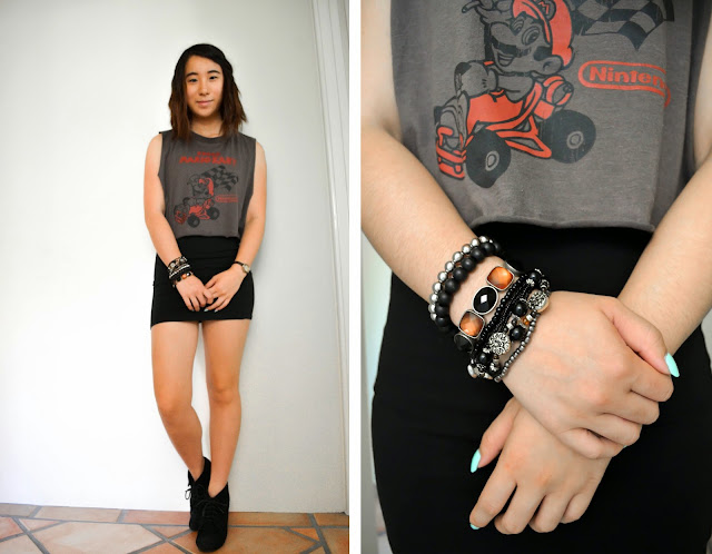 nintendo mario kart game vintage retro diy muscle tee thrift thrifted dress skirt bodycon black grey red bracelet bracelets jewellery silver boots wedges heels laces