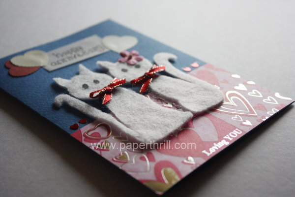 Two love cats handmade wedding anniversary card