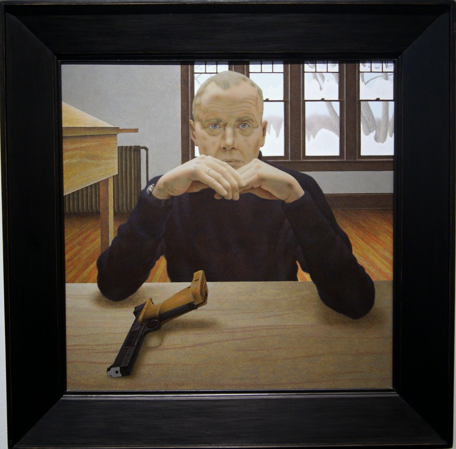 Alex Colville Exhibit at Art Gallery of Ontario in Toronto, Target Pistol and Man, 1980, paintings, art, artmatters, culture,ontario, Canadian Artist, Painter, Canada