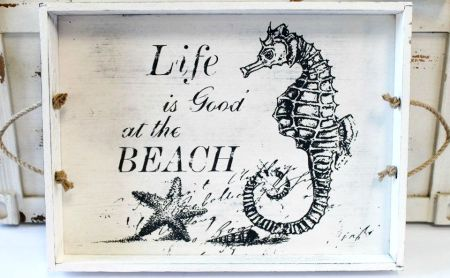 Life is Good at the Beach Seahorse Tray