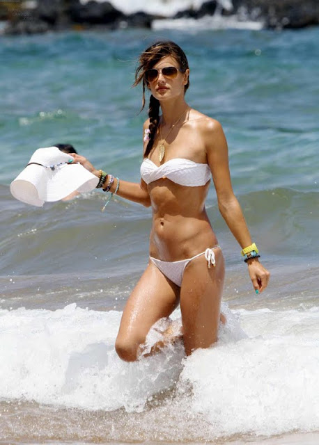 Alessandra Ambrosio – White Bikini  in Hawaii