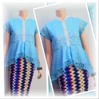 Baju Kebaya Broklat Motif Batik Rang Rang Biru