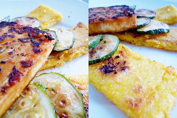 Gebratenes Dorschfilet mit Zucchini auf Polentaschnitten