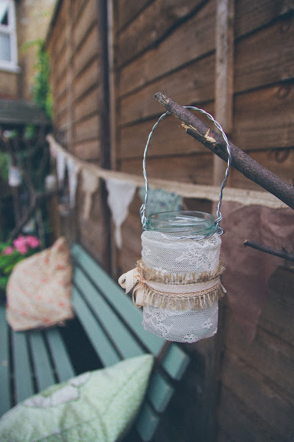 How to make vintage lace candle lanterns for garden parties