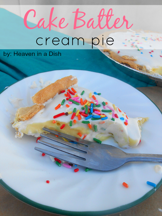 Cake Batter Cream Pie by Heaven in a Dish -super easy, perfect for holiday parties!
