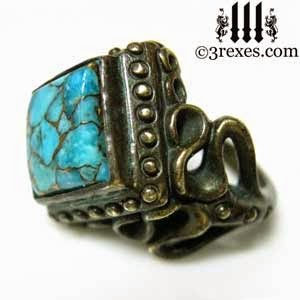 Gothic Dark Brass Raven Love Cocktail Ring with Blue Copper Turquoise Side Detail