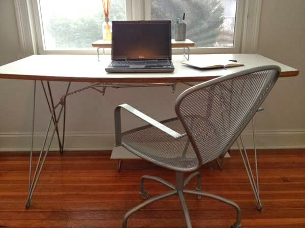Le Gourmand Butcher Block Table Crate and Barrel Desk and Bookshelf - $300 (Newton)
