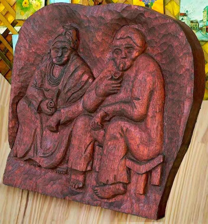 Entalhe em madeira - Outro Casal de Pretos Velhos