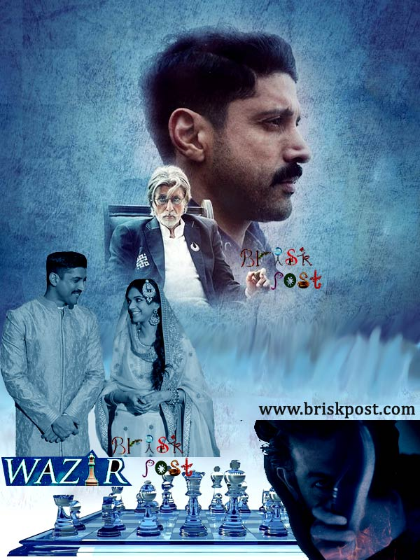 Wazir hindi bollywood movie poster staring Amitabh Bachchan, Farhan Akhtar, Aditi Rao, and Neil Nitin Mukesh