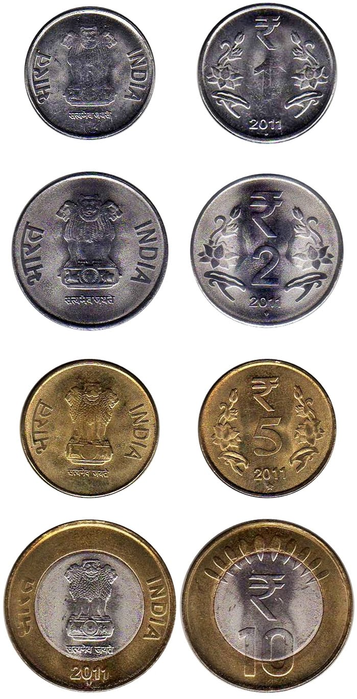 Indian Coins with Rupee Symbol