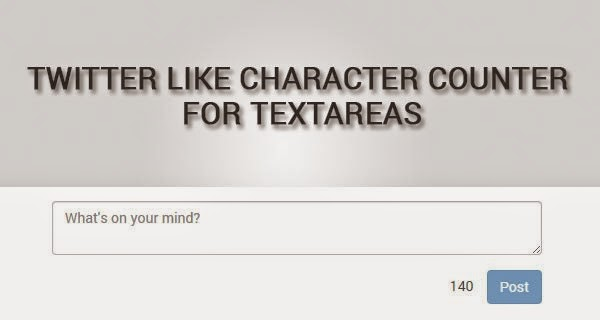 Twitter like character counter for textareas