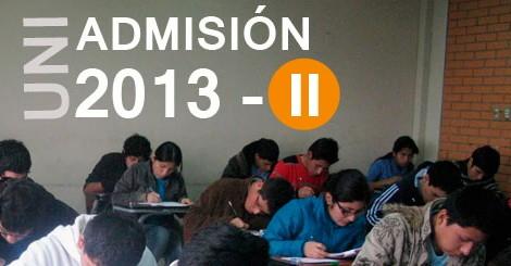 resultados del examen de admisión de la UNI 2013-II y la relacion de