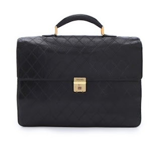 Vintage black quilted leather Chanel briefcase with gold hardware