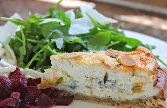 Slice of savoury blue cheesecake