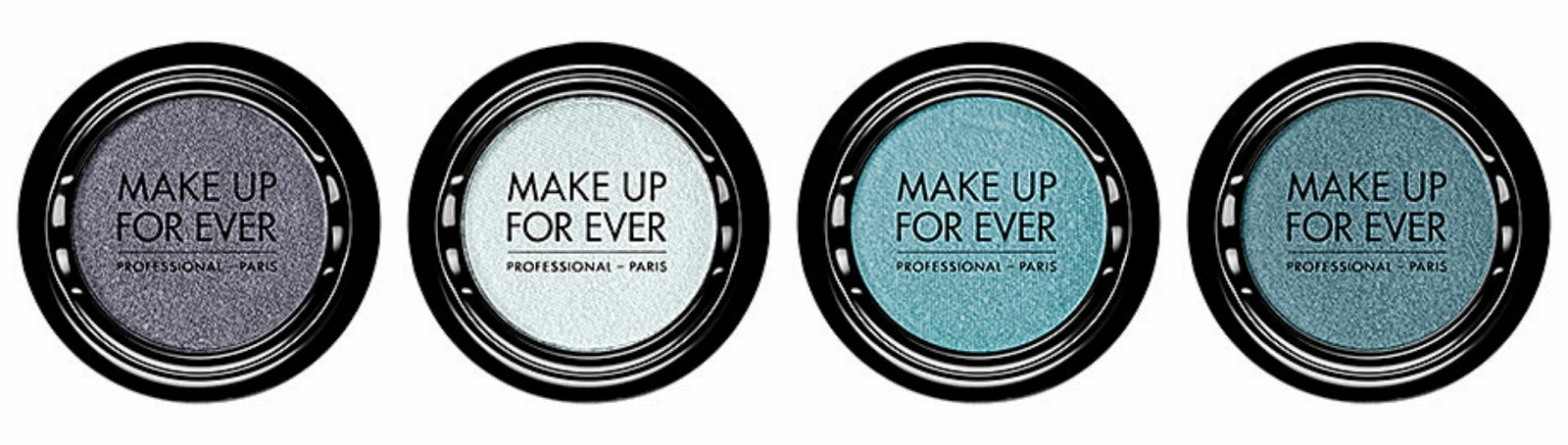 Make Up For Ever Artist Shadow From left: I112 Chrome; I120 Snow Gray; I204 Sky Blue; I210 Light Turquoise
