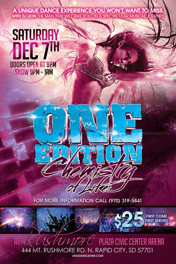 One Edition Chemistry of Life Rave Rapid City South Dakota Flyer Design Pink