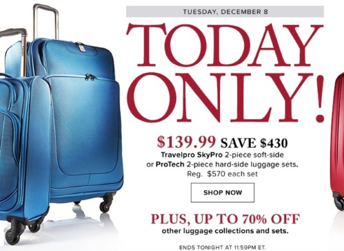 Hudson's Bay Travelpro 2 Piece Luggage Sets $139.99 + Up To 70% Off Other Luggage Collections