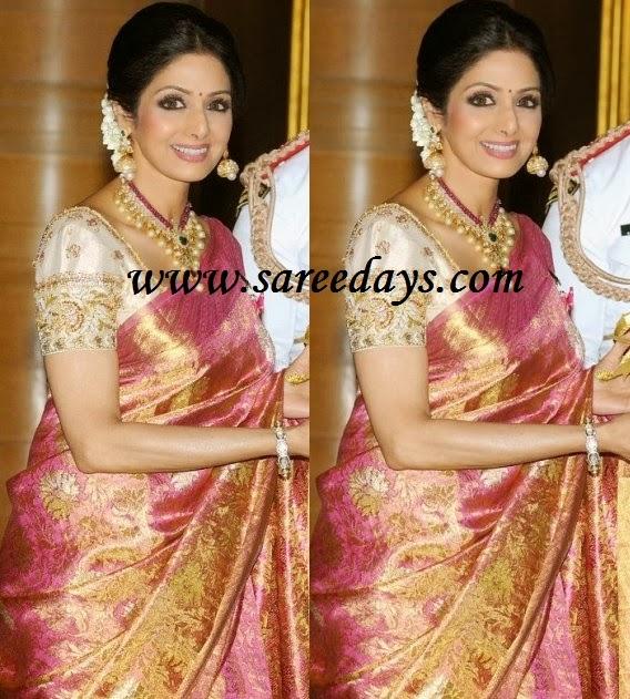Latest saree designs sridevi in pink kanchipuram silk saree sridevi in pink kanchipuram silk saree altavistaventures Image collections