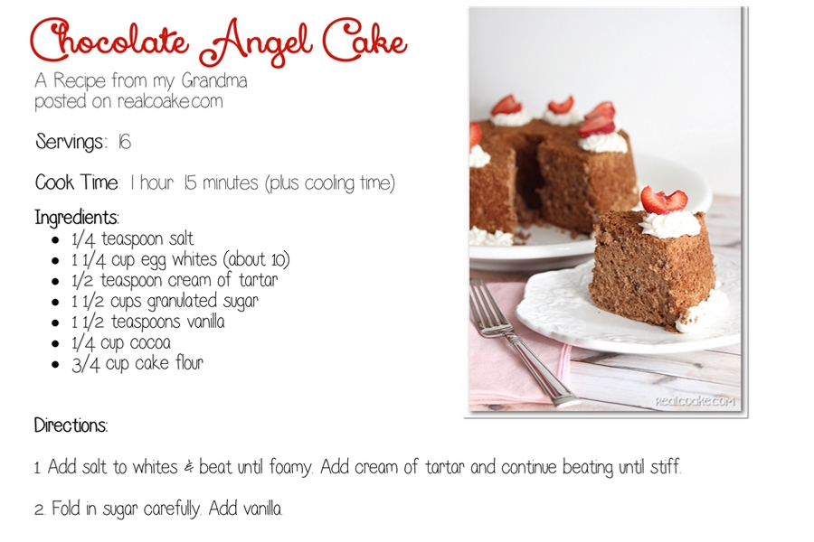 Angel Food Cake Recipe on old fashioned caramel cake
