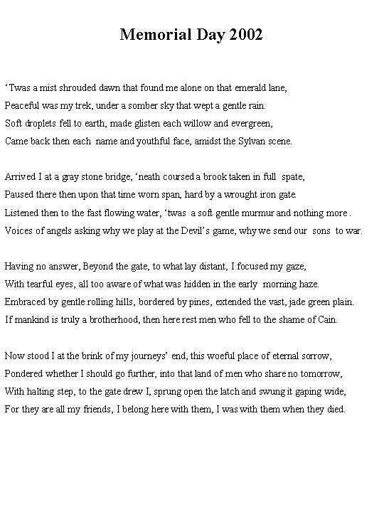 Short Memorial Day Poems For Kids
