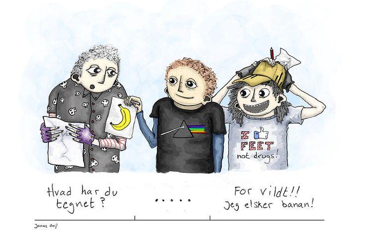 farvelagt tegning med sjove kommentar af illustrator Jonas Gejl