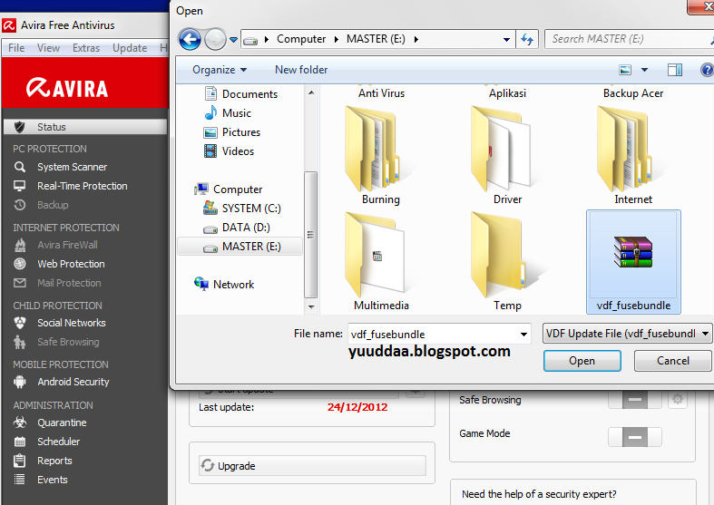 Mengatasi Error Update Avira : An error occured during the file