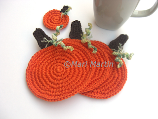Crochet Coasters Pumpkin Autumn