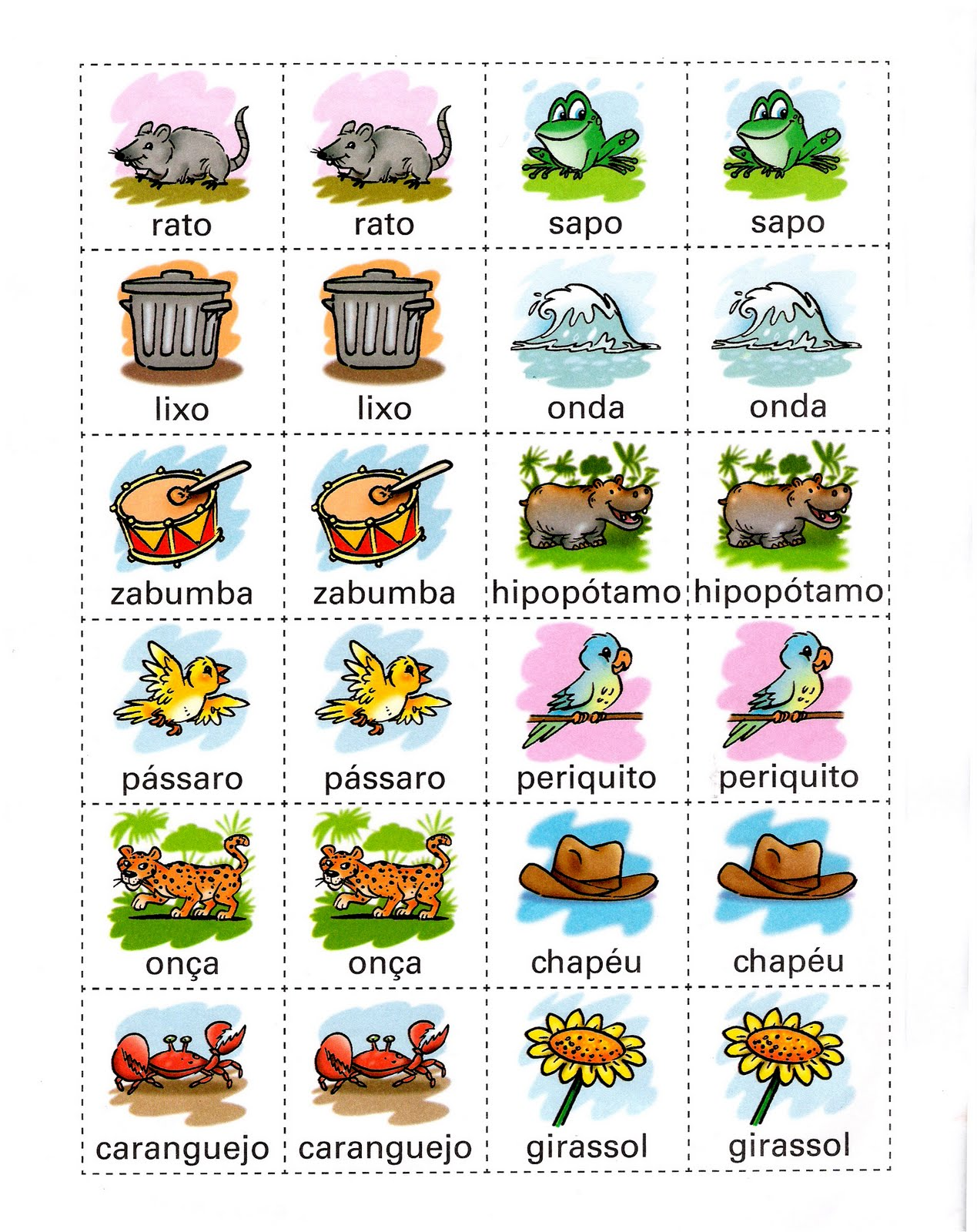 Desenhos Para Colorir Jogos de Memoria objetos animais e muito mais
