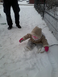 Ellie trying to build a snow ball