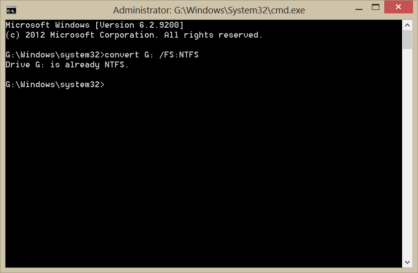 how to convert raw drive to ntfs using command prompt