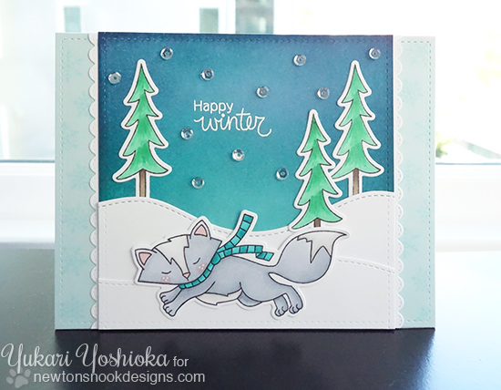 Happy Winter Fox Card by Yukari Yoshioka | Fox Hollow stamp set & die set by Newton's Nook Designs #newtonsnook #fox
