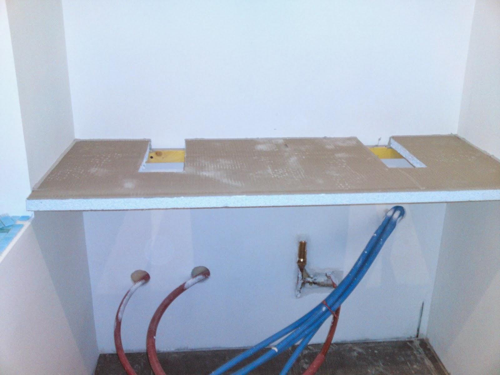 Lcch salle de bain pose de double vasques sur plaque de for Salle de bain wedi
