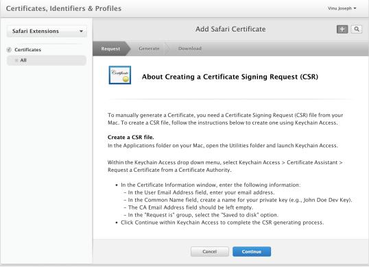 how to create a csr file mac